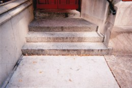 "Photo by Jamie ""I know people who sleep here, in the small hidden areas outside the church. You can see how worn these church steps are from people sleeping and walking."""