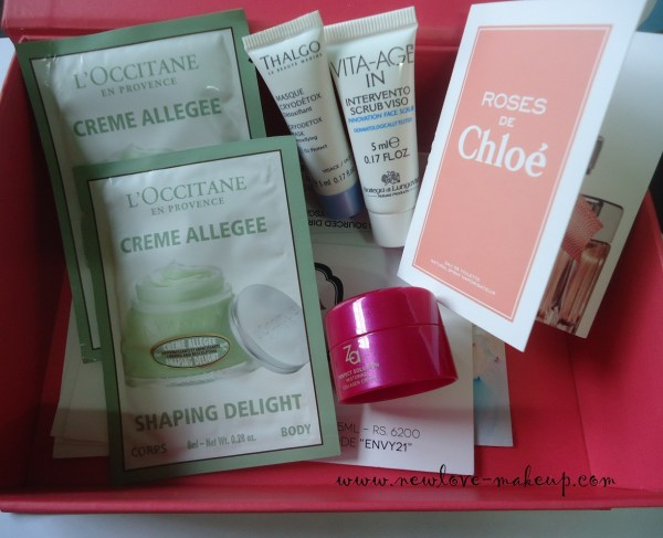 September My Envy Box Review, Chloe, Bottega Di Lungavita, ZA, L'Occitane, Thalgo, Indian makeup and beauty blog