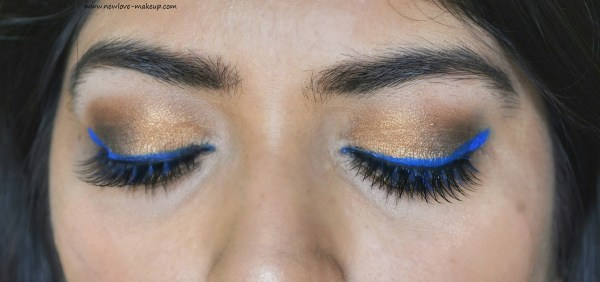 Indian Summer Makeup Tutorial | Gold Eyes and Blue Liner, Indian Wedding Guest Makeup