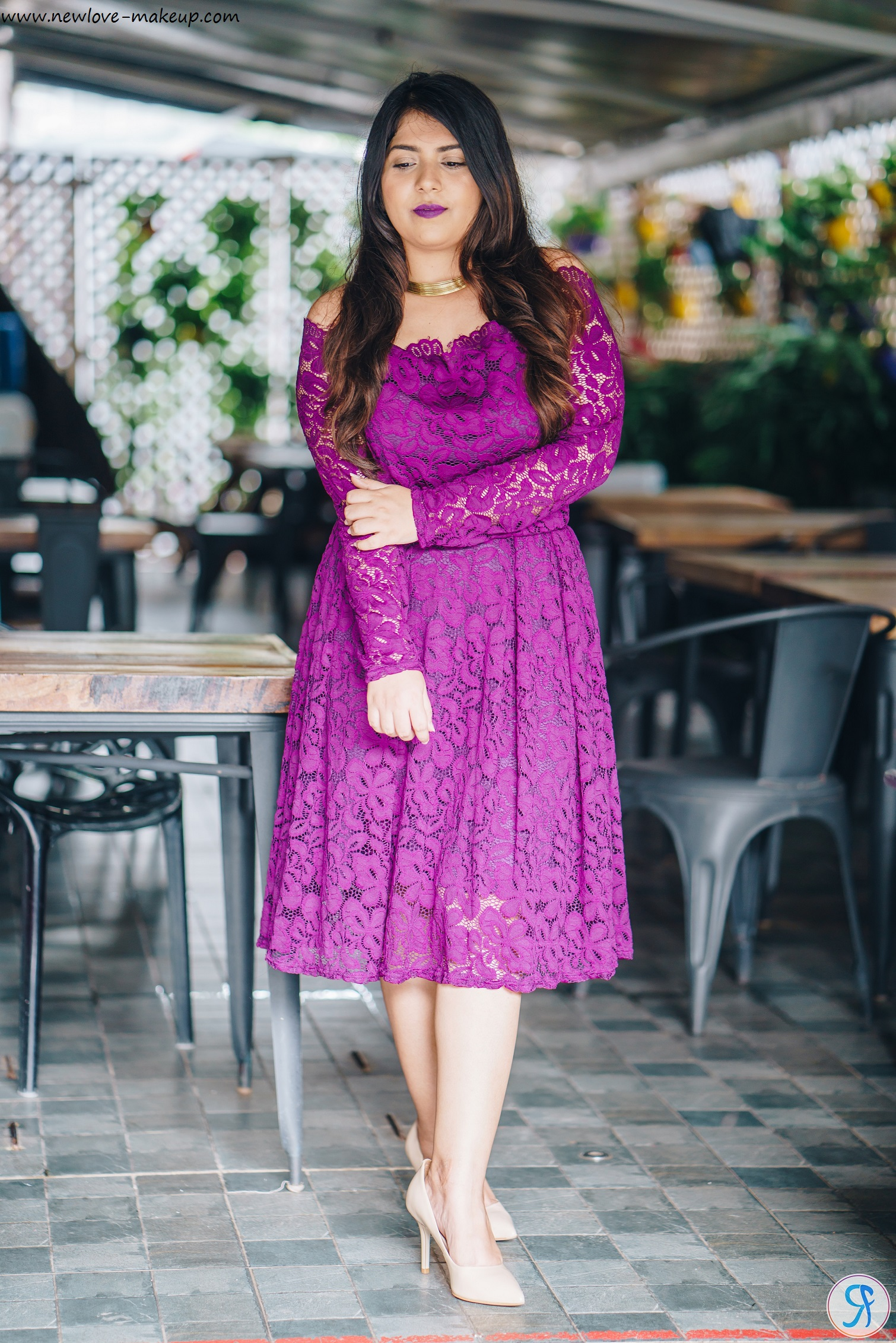 OOTD: Off Shoulder Purple Lace Dress