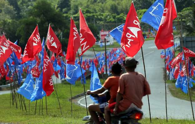 Election flags at Cameron Highlands
