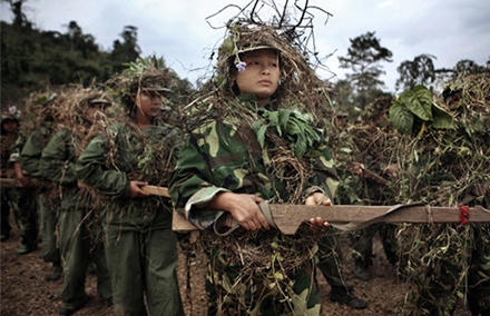 Kachin women undertaking military training. Photo by Adam Dean/ Sony World Photography Awards.