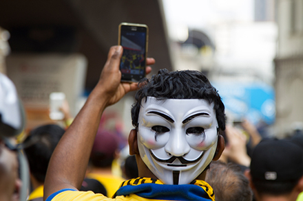 Selfies and Guy Fawkes masks  featured at Bersih 4. Photo: Getty Images.