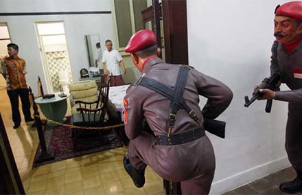 A re-enactment from the failed coup of 1965 at Indonesia's national monument.