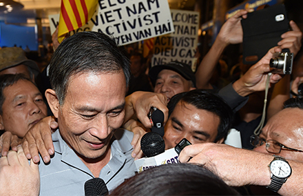 Blogger, Nguyen Van Hai, known online as Dieu Cay, was recently freed and sent to the US. Photo: Robyn Beck/AFP.