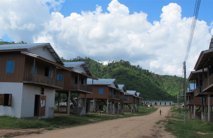 Ban Hadmuark, the relocation site for 600 households affected by the Nam Tha 1. Photo: Olivier Evrard