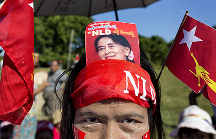An NLD supporter at a rally in Myanmar's Rakhine State.