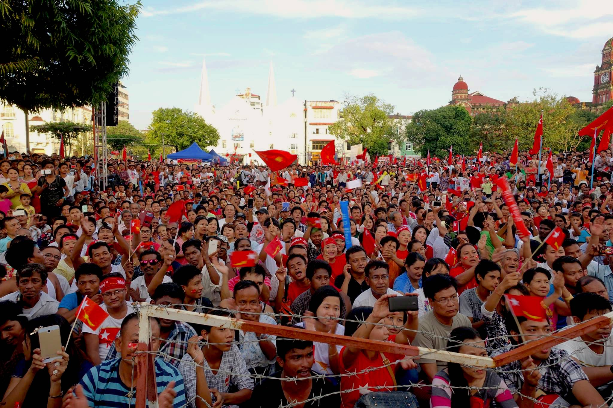 Image result for An election rally for the National League for Democracy in Yangon, October 2015. Photo: Olivia Cable