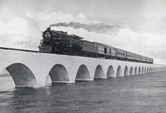 An undated photograph shows the Henry Flagler's Florida Keys Over-Sea Railroad train on the Long Key Viaduct. Jan. 22, 2012, is to mark the centennial anniversary of the first train's arrival into Key West and the completion of the Over-Sea Railroad project. A series of events in the Florida Keys to mark the occasion are underway and more are planned. Photo courtesy of the Monroe County Public Library.