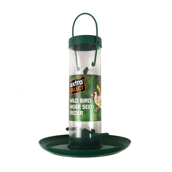 Nyjer seed feeder with tray