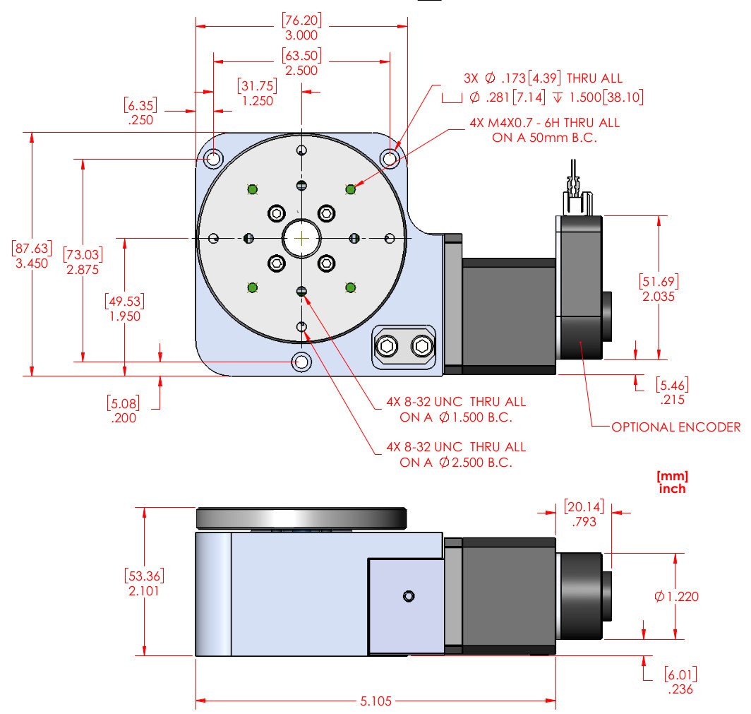 Rm 3 Motorized Rotary Stage Extended Temperature Range