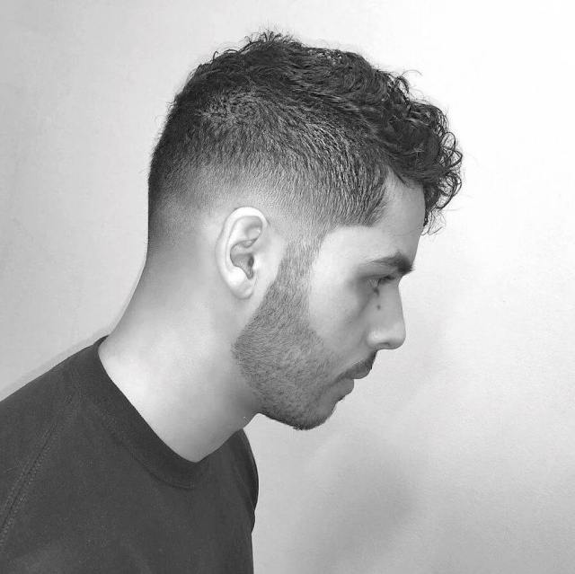 Short Curly Hair + High Fade + Fringe