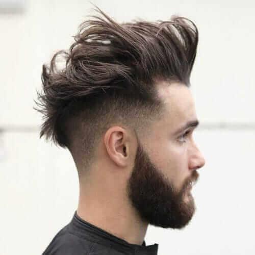 Messy Quiff + Undercut + Thick Beard