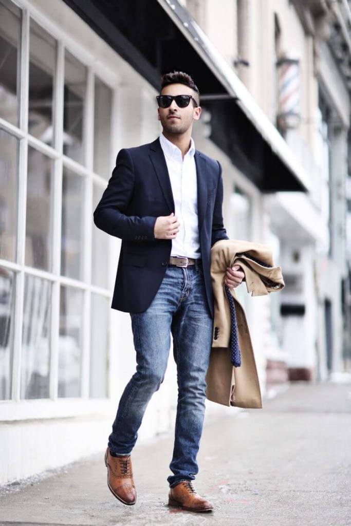 Navy Blue Blazer With Jeans For Men