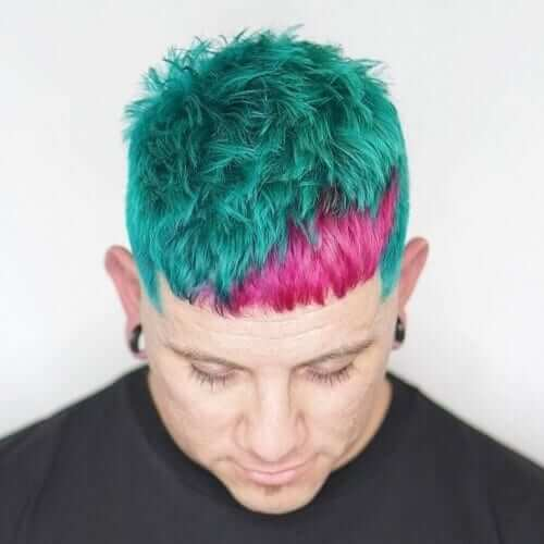 Teal and Pink Mens Hair Color Blend