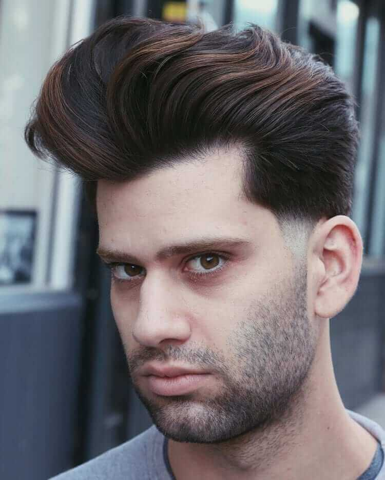 Dense and Thick Pompadour with Temple Fade