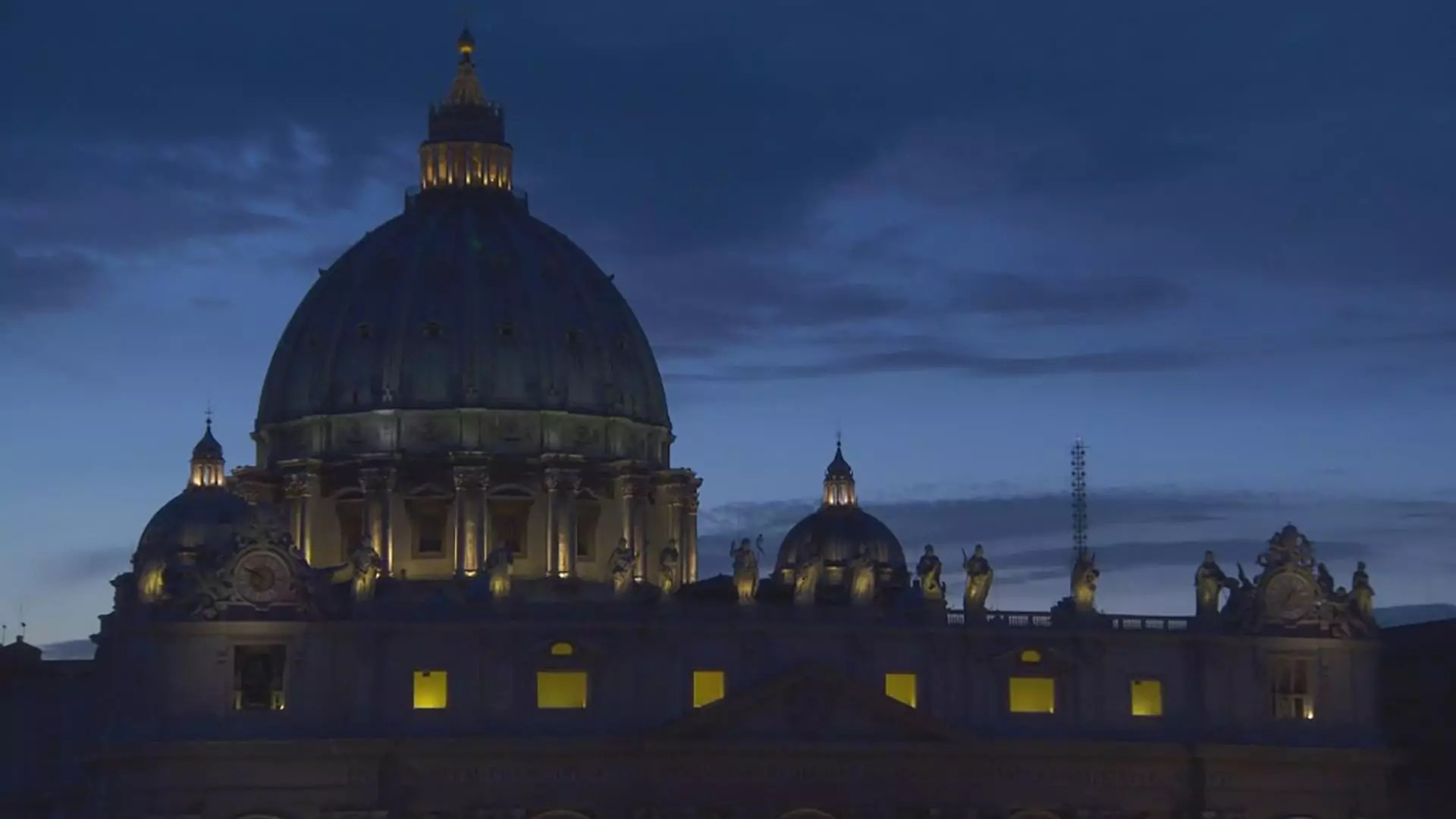 The Vatican at night.