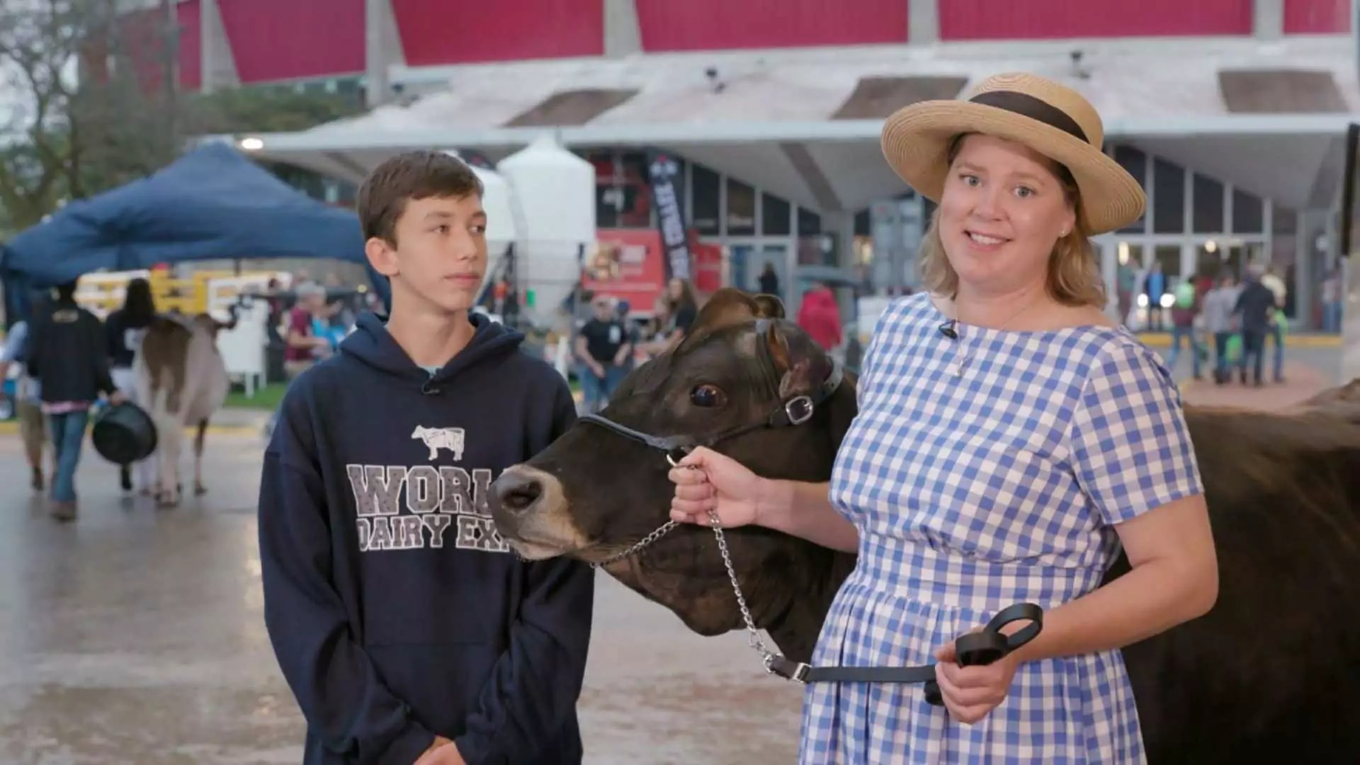 A person holds handles for a cow while a teenager looks at them.