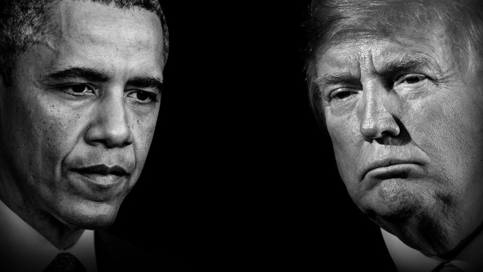 Composite of portraits of Barack Obama and Donald Trump.