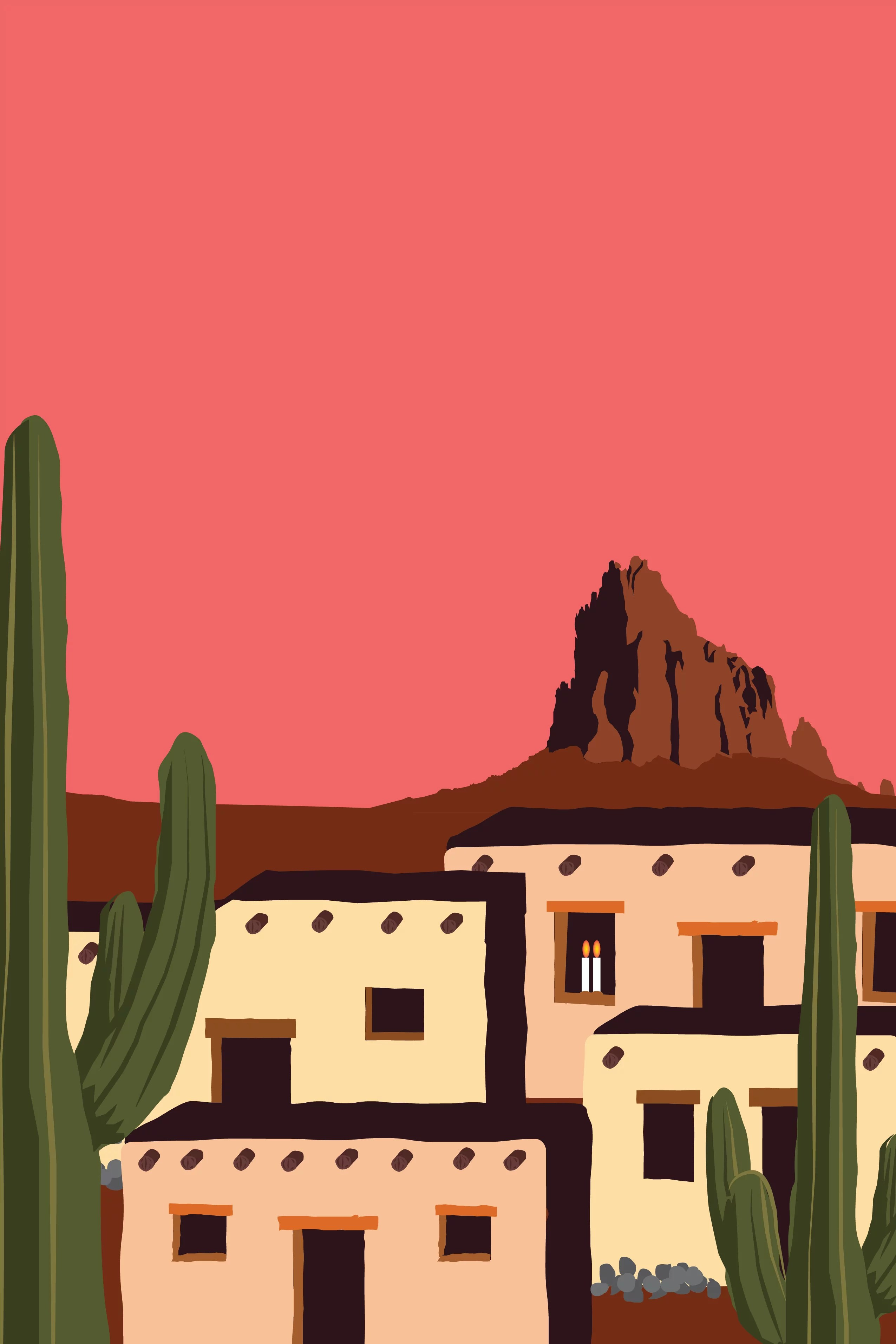 An illustration of adobe houses and cactuses in front of Western mountain ranges.