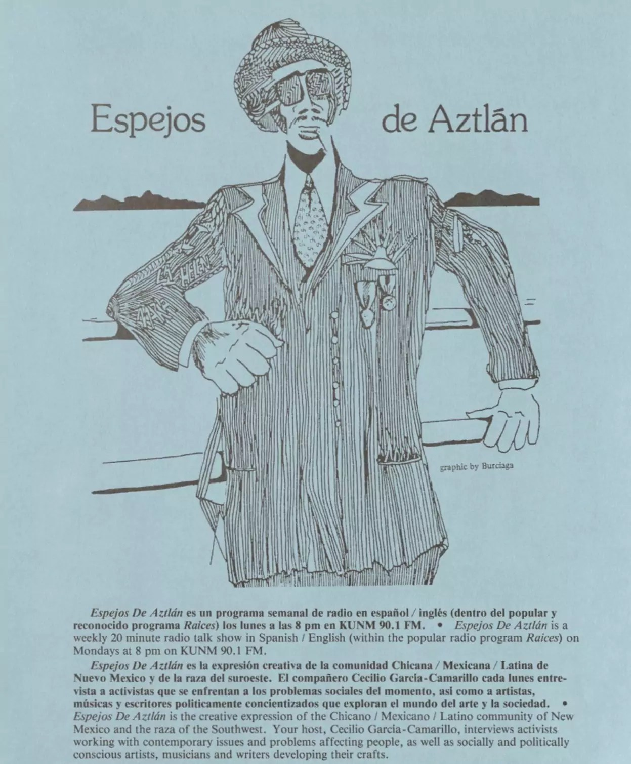 """Illustration featuring someone in a hat walking, with a blue backdrop and label """"Espejos de Aztlán""""."""