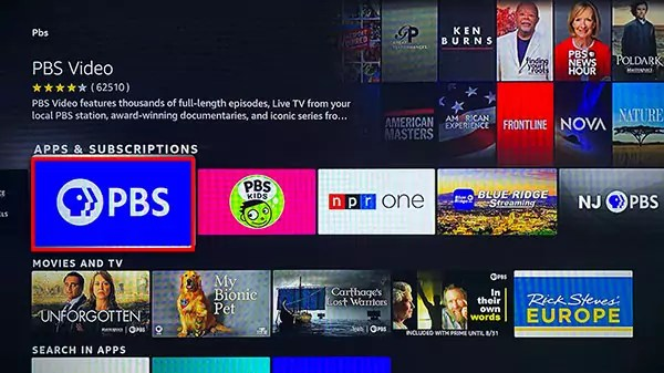 """Search results for """"pbs"""" with the PBS Video App Highlighted"""