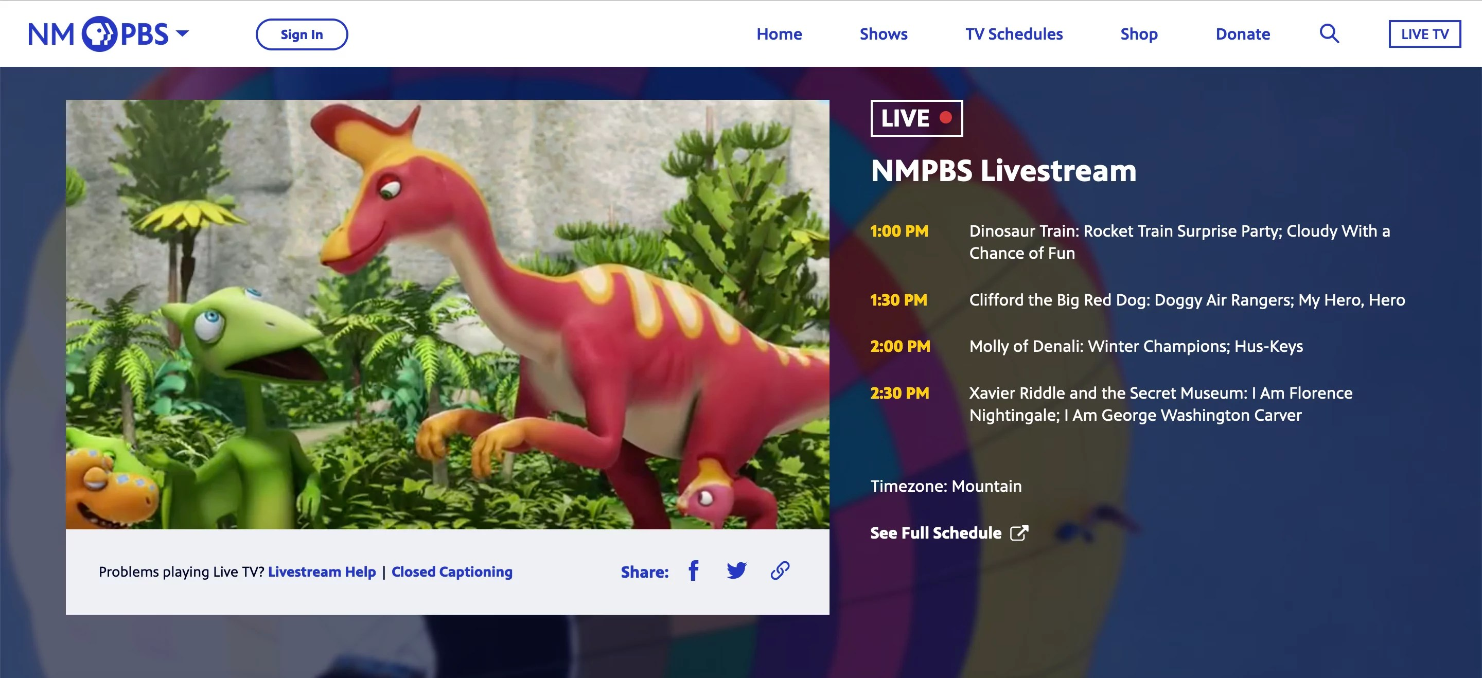 """A screenshot of the """"Watch Live"""" portal on the PBS Video App"""