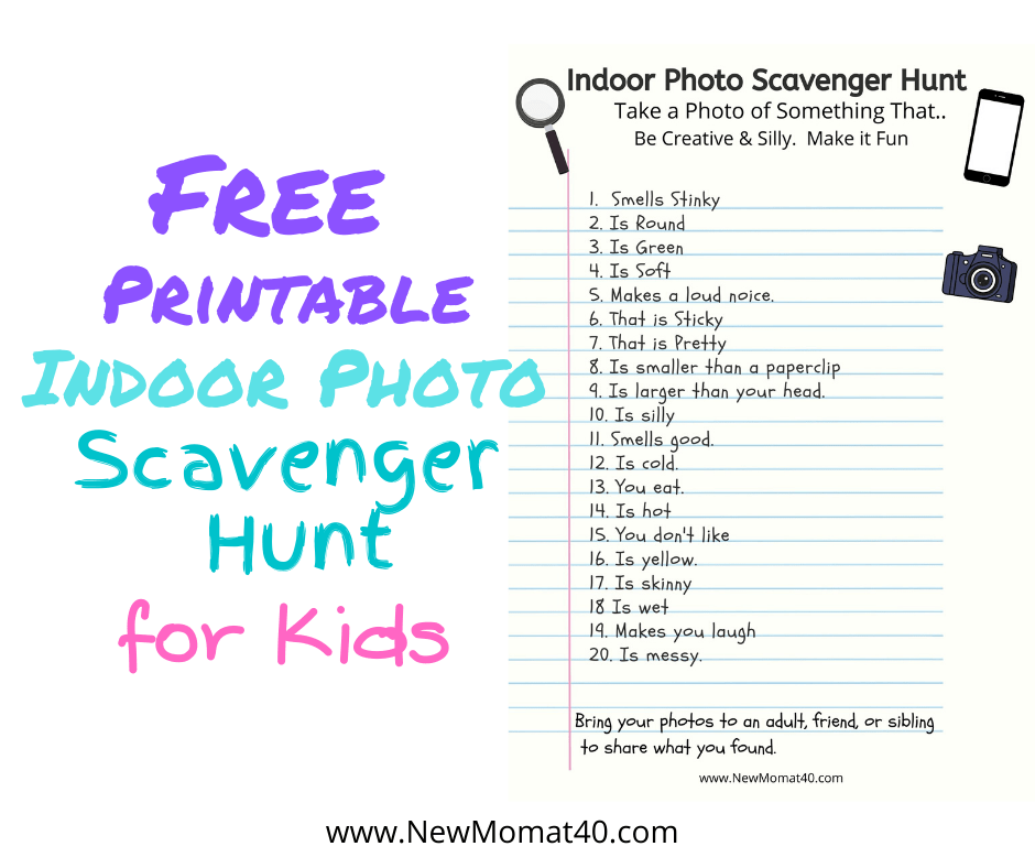 Free Indoor Photo Scavenger Hunt for Kids - New Mom at 40