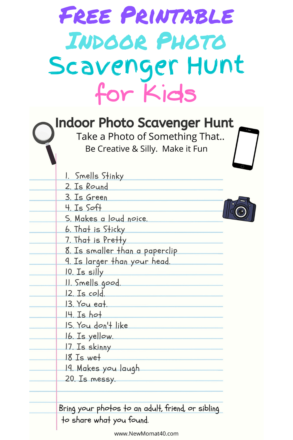 Free Indoor Photo Scavenger Hunt For Kids New Mom At 40