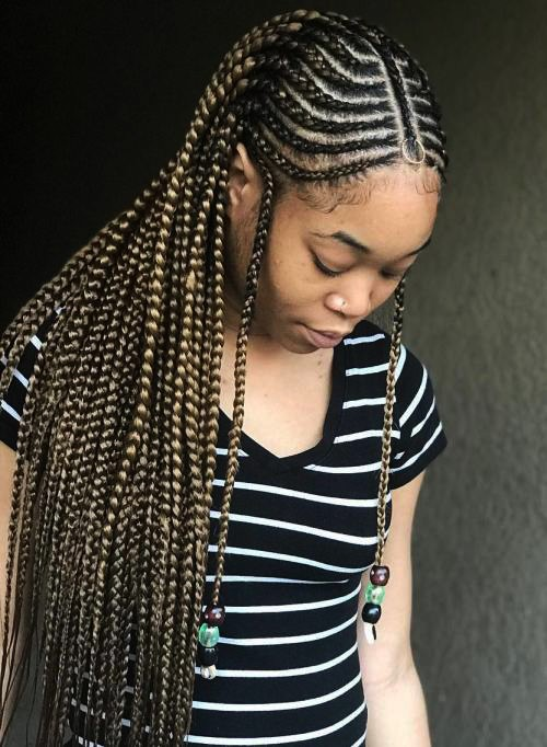 Fulani Braids Hairstyle For Afro American Women New