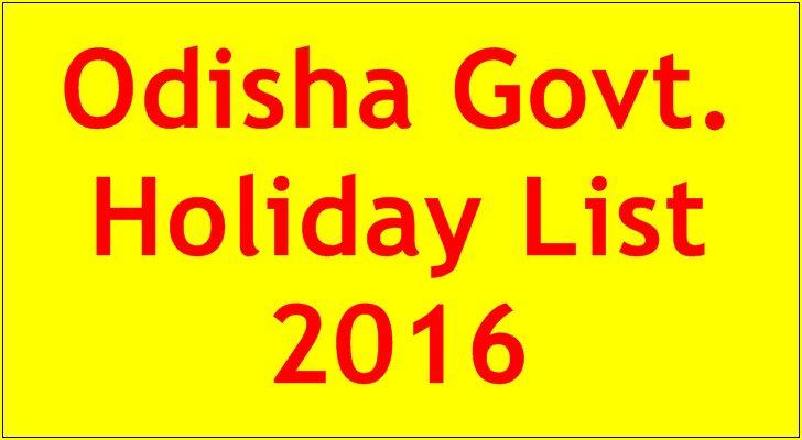 Odisha Govt Holiday List 2016