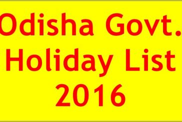 Odisha Govt Holiday List 2016