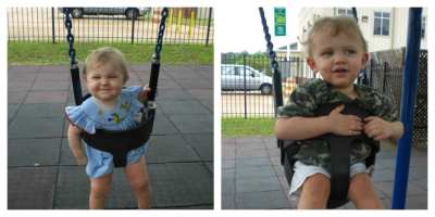 Camille & Cooper swinging at Kids Konnection