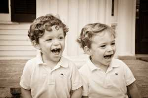 Roubion Twins - kids laughing B&W-LR
