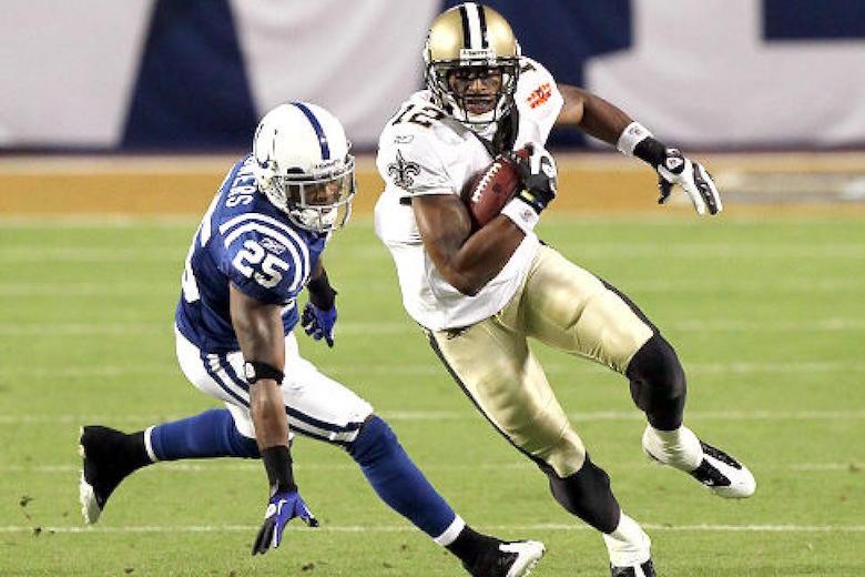 Wide receiver Marques Colston i Super Bowl XLIV mod Indianapolis Colts.