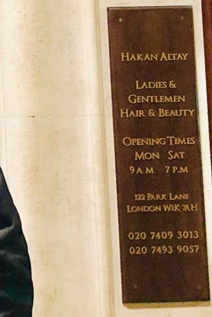 Hakan Altay beauty Salon, Park lane, London.