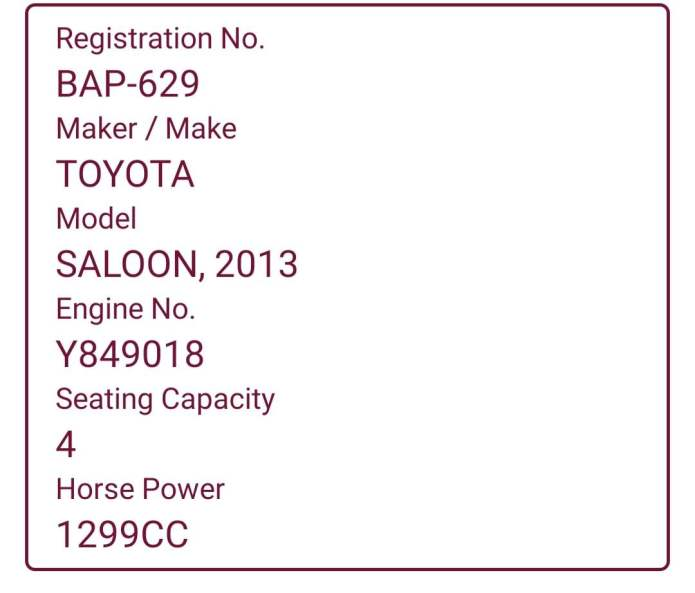 Registration details of the car used in PSE attack