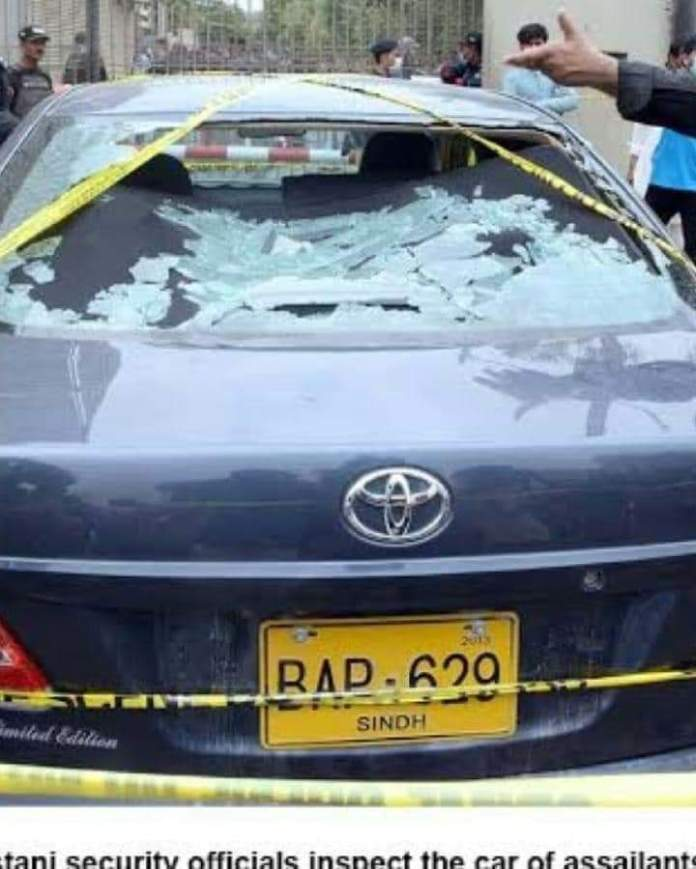 Car used in the terror attack at Pakistan Stock Exchange, Karachi