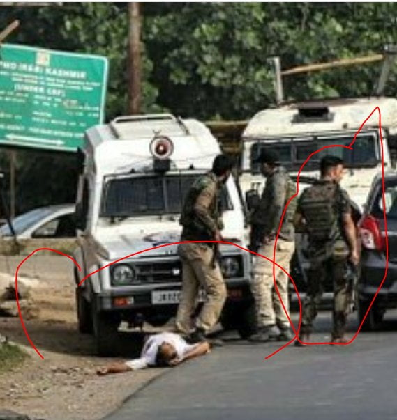 CRPF soldiers after the fake Encounter at Sopore, district Baramulla, Kashmir