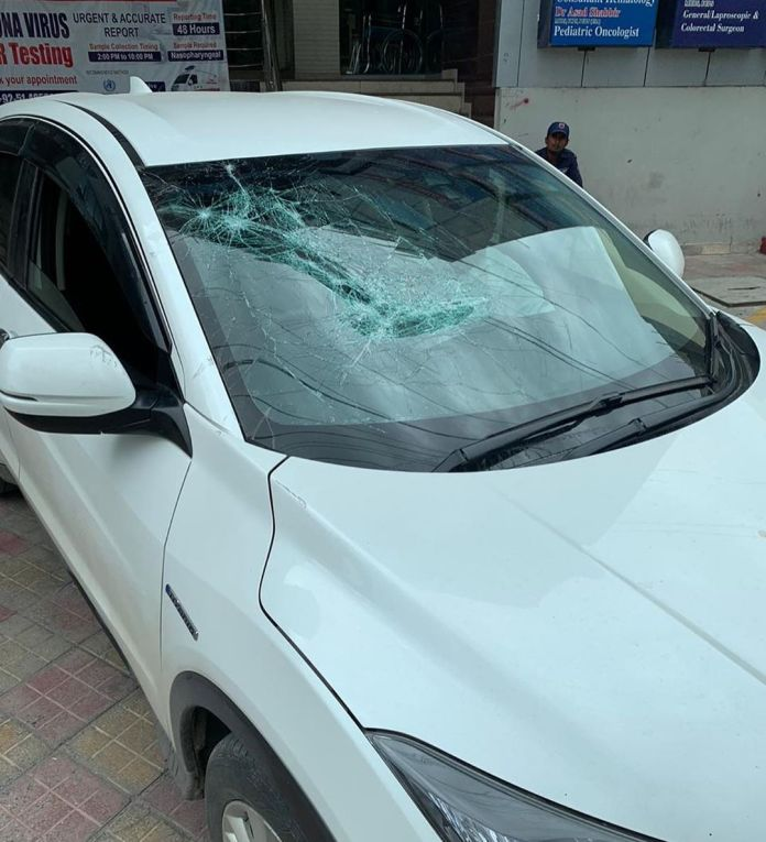 Car of Bisma Chaudhry which was broken by Zoobia Meer and her mother