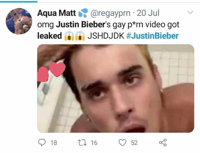 Viral Screenshot on social media claiming Justin Bieber's gay video leaked