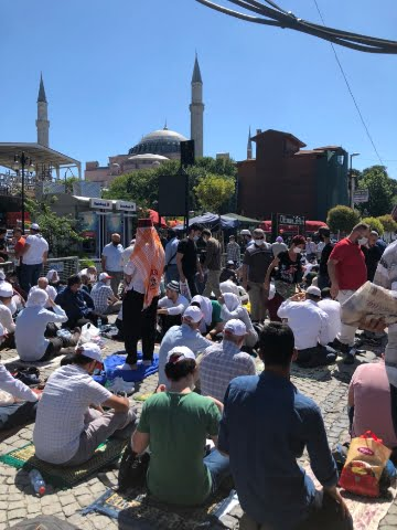 Muslims offering prayer at Hagia Sophia in Turkey