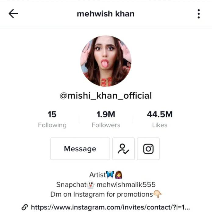 Pakistani TikTok star Mehwish Khan, Professionally known as Mishi Khan, on TikTok