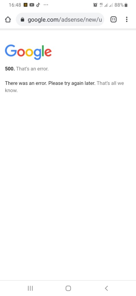 Google adsense server error message pop ups while accessing Google adsense account
