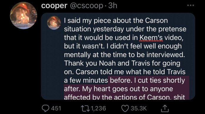 """CallMeCarson's friend and Lunch Club member Cooper reacted to allegations """"Carson sexted and groomed fans who were minors."""""""