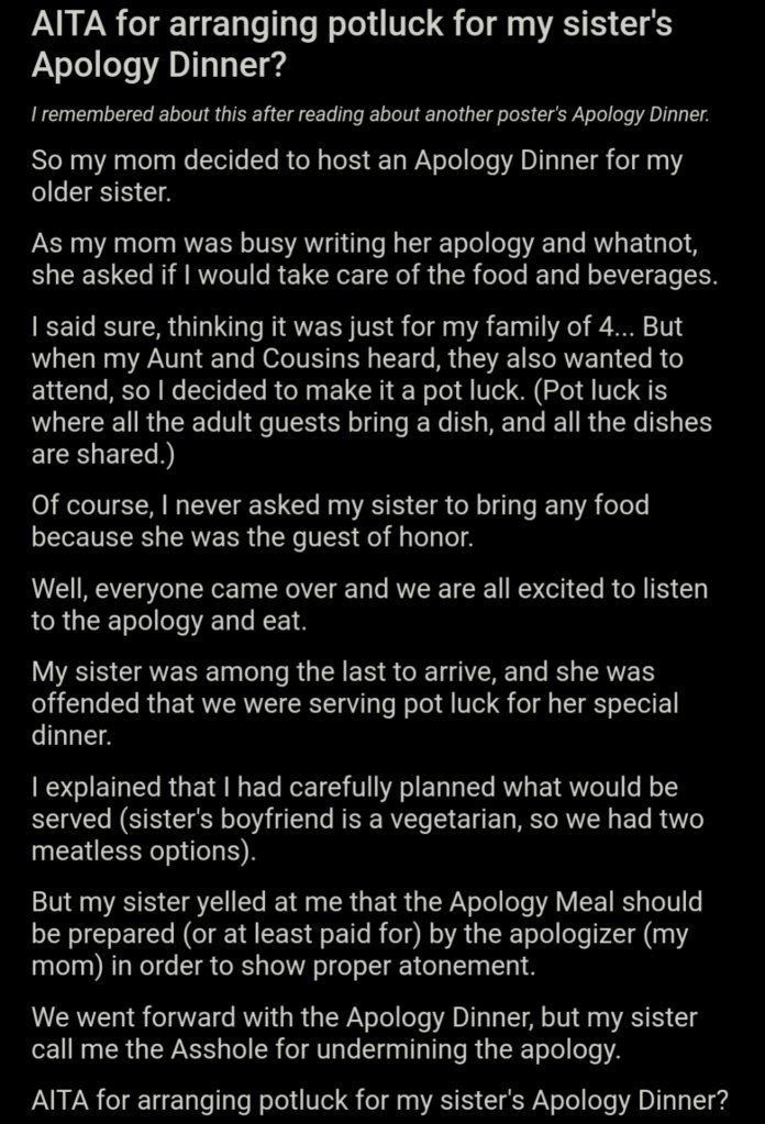 Screenshot of the Reddit thread where a woman tells about arranging an apology dinner for her elder sister