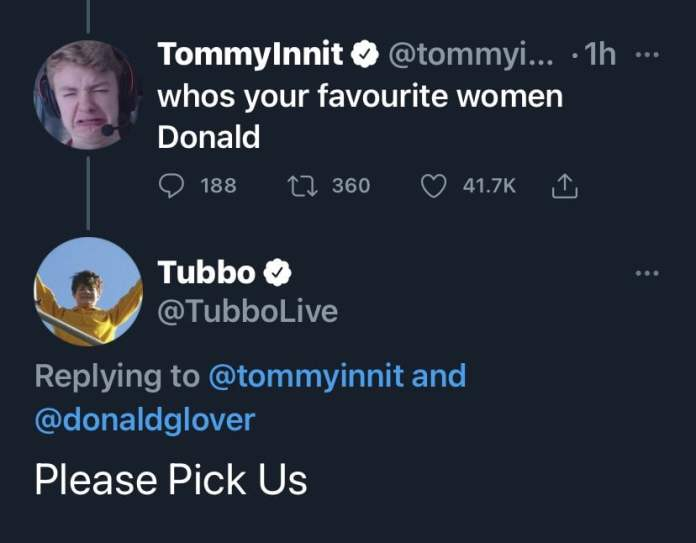 "Screenshot of the tweet in which Tommyinnit asked Donald Glover ""whos your favourite women Donald"", after which Donald Glover deleted his all tweets from his Twitter page"