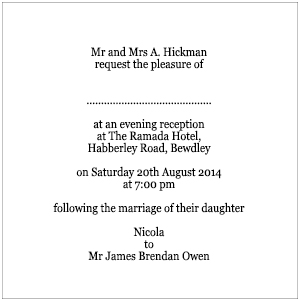 Evening Wording In The Wedding Invitation Packets