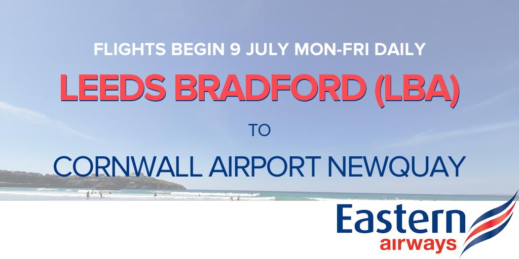 Fly Leeds Bradford to Newquay Airport from 9 July