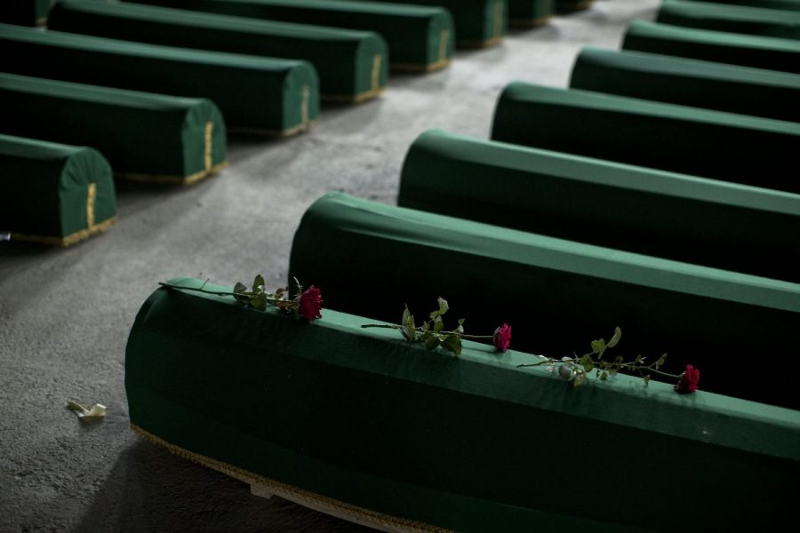 Three roses are laid on a coffin of a victim of the Srebrenica massacre, 9 July 2015. (AP Photo/Marko Drobnjakovic)